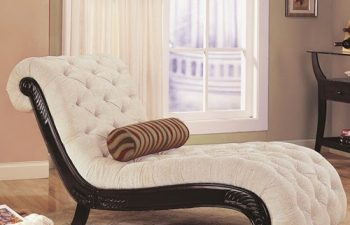550064 Traditional Chaise with Button Tufting and Carved Wood Trim